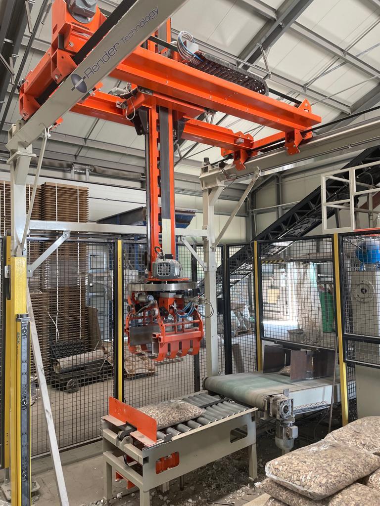 Robot kartezjanski - Linia do pakowania: ekogroszku, kamienia, pelletu